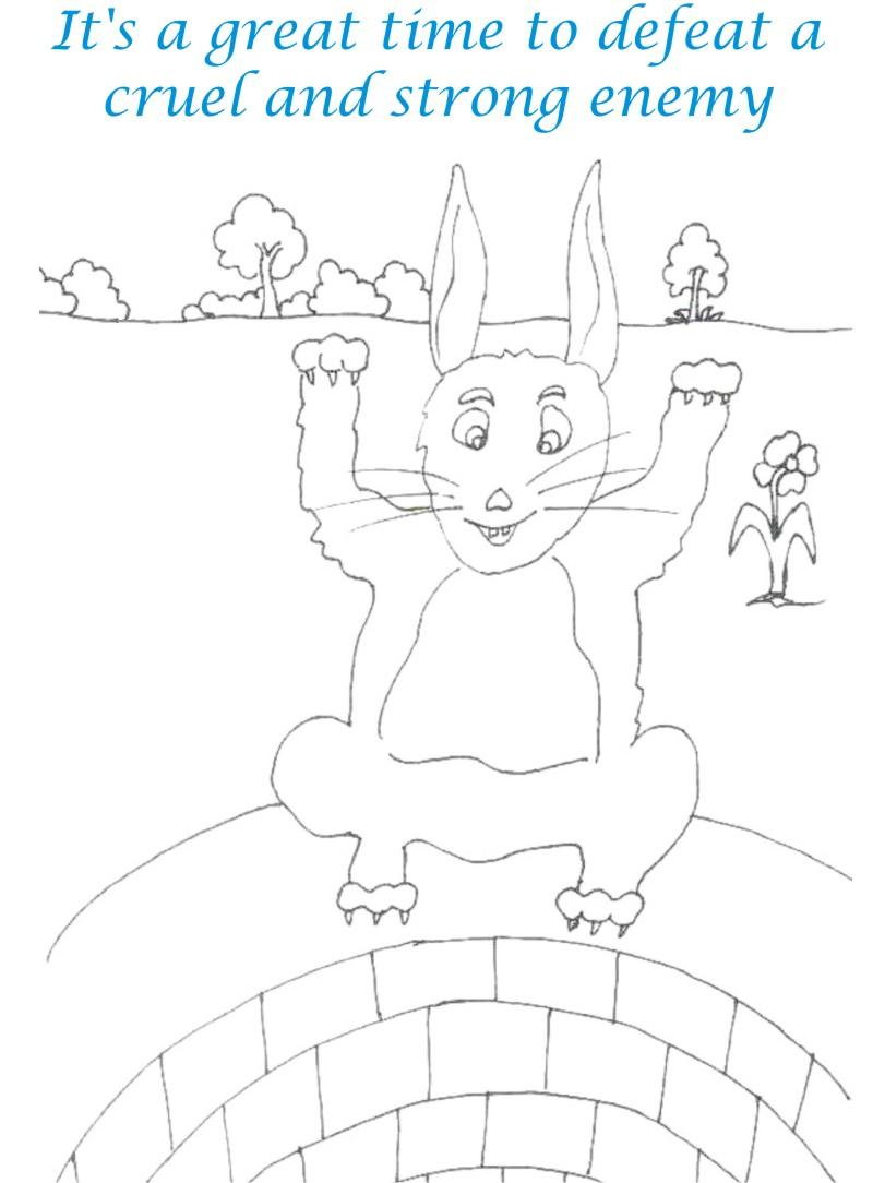 Rabbit enjoys victory coloring page for kids