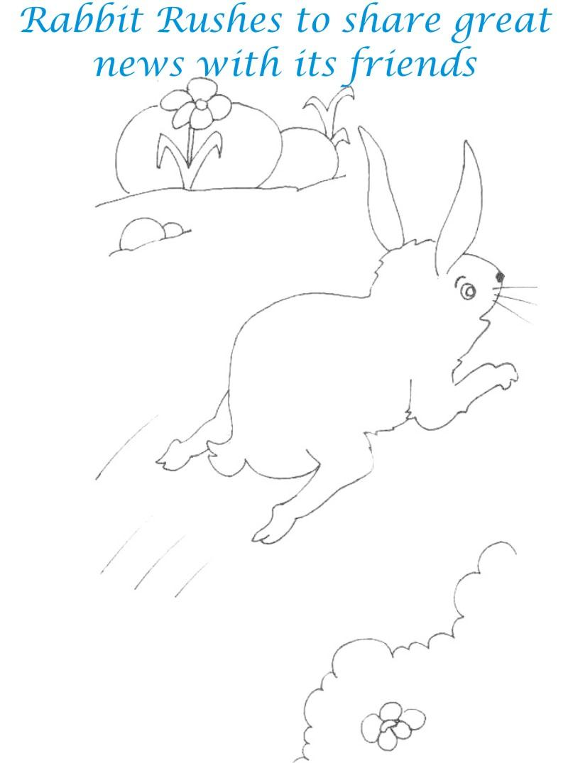 Rabbit rush to jungle coloring page for kids