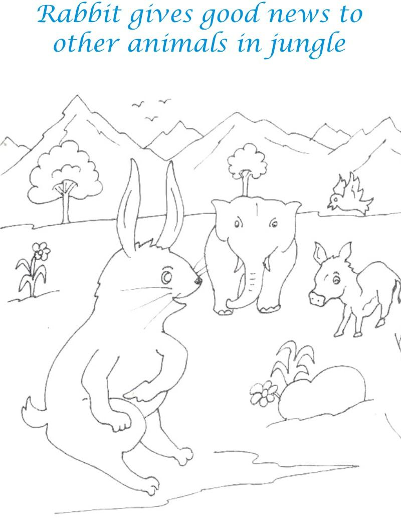 Rabbit giving good news coloring page for kids