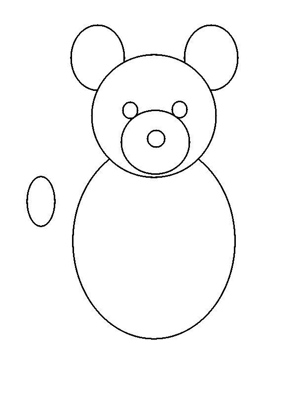 make a small circle in one side of the teddy bear as shown in figure
