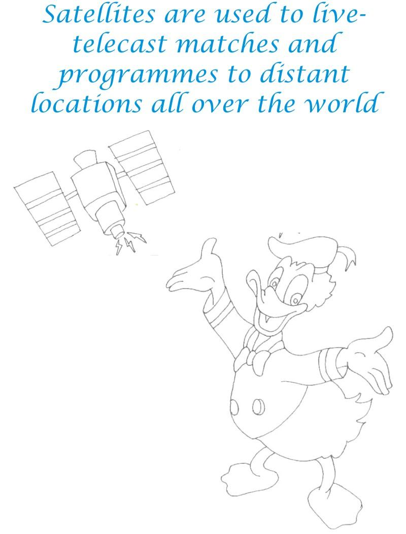 Satellite communication coloring page for kids