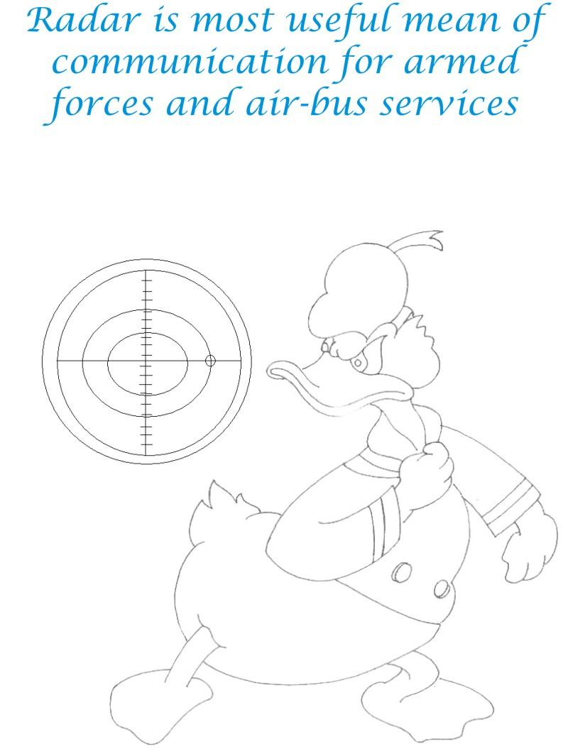 Radar Communication device coloring page for kids