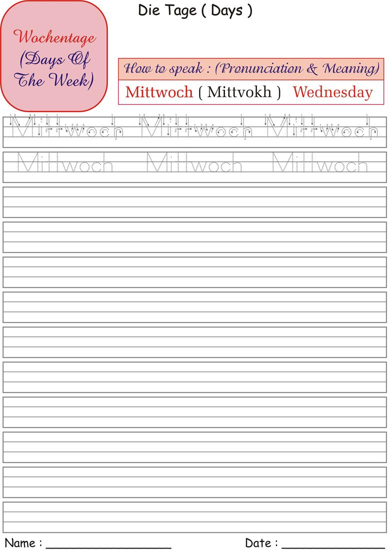 German Days of the Week Worksheet - Mittwoch