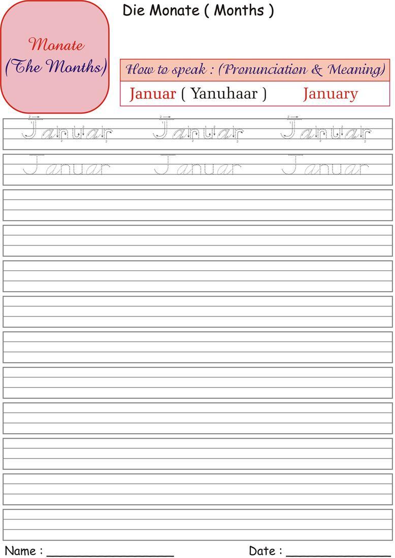 Find more: German Months Worksheets German Months Printables