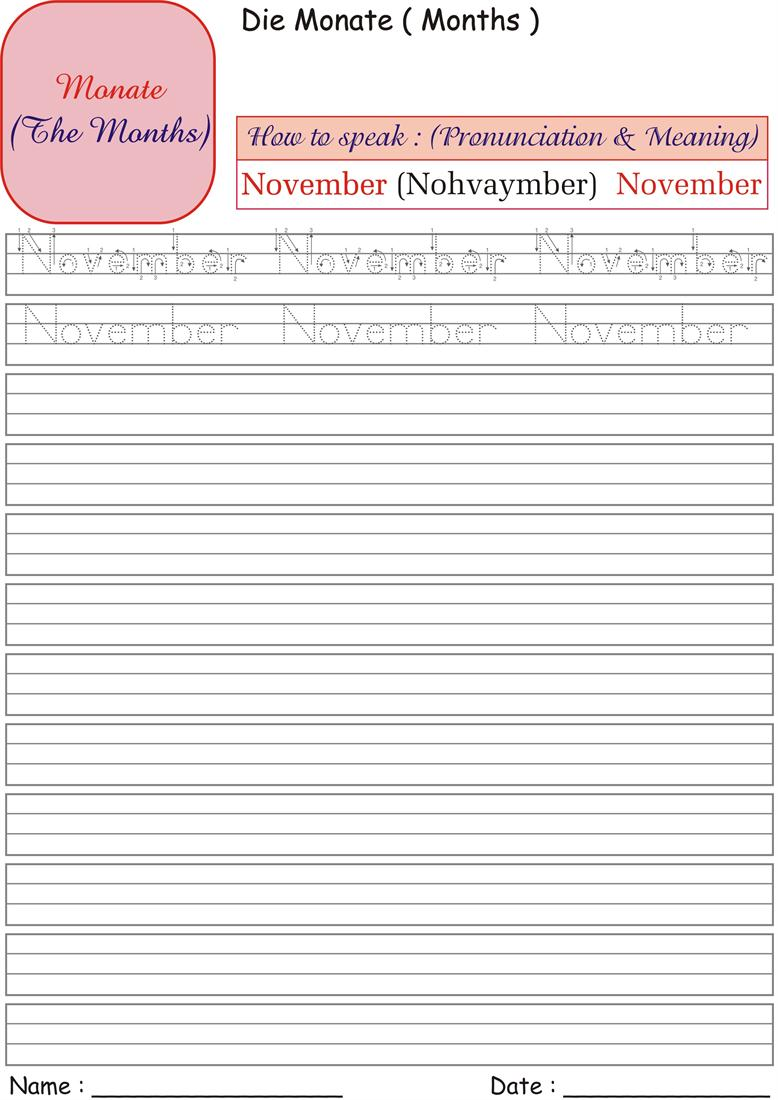 German Months Worksheets for practice - November