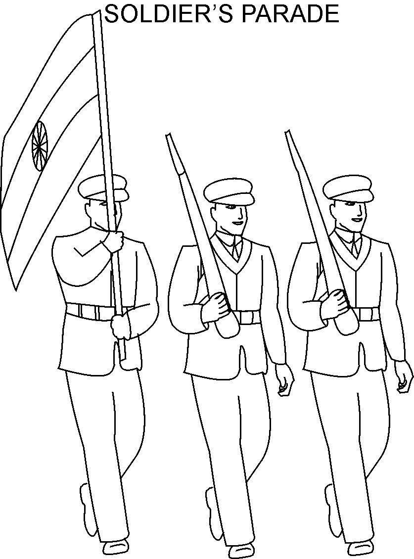 republic day soldier parade coloring page