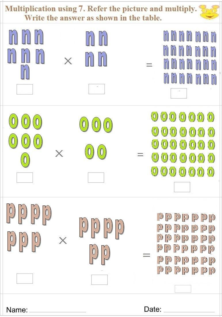 Maths worksheet for learning Multiplication 20