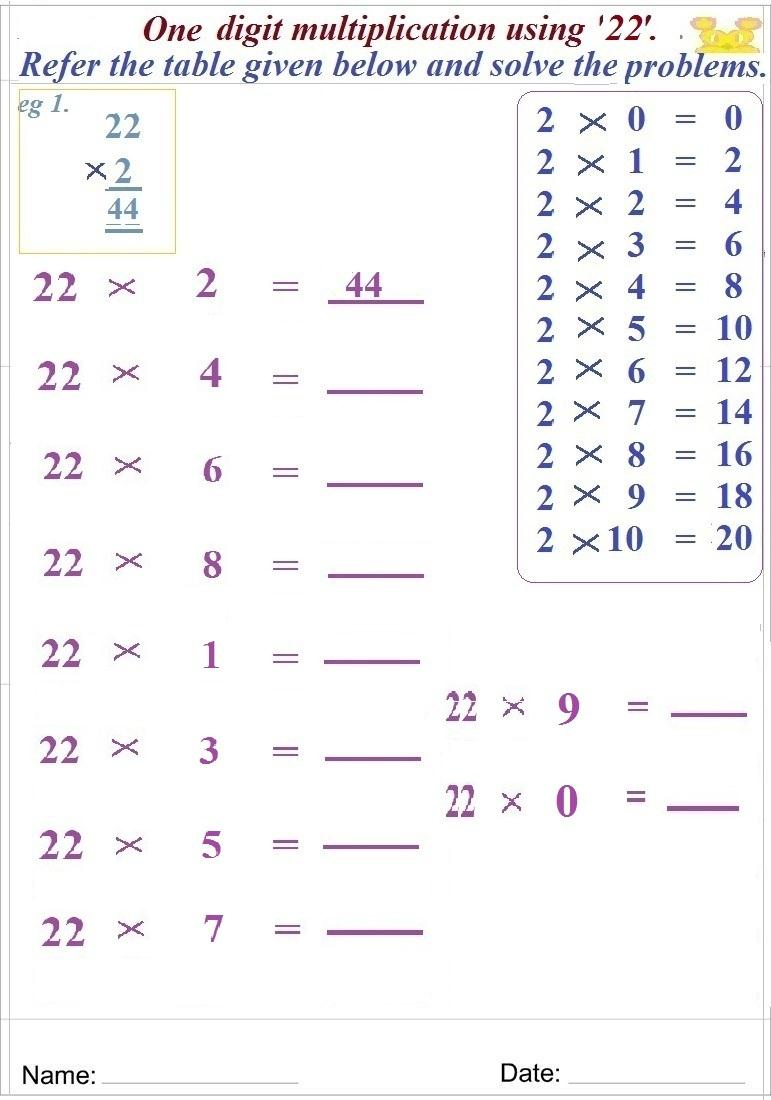 Maths worksheet for learning Multiplication 39