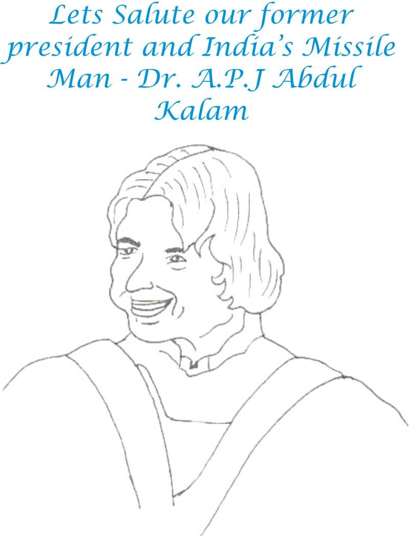 APJ Abdul Kalam coloring page for kids