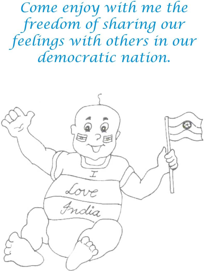 Baby with flag coloring page for kids