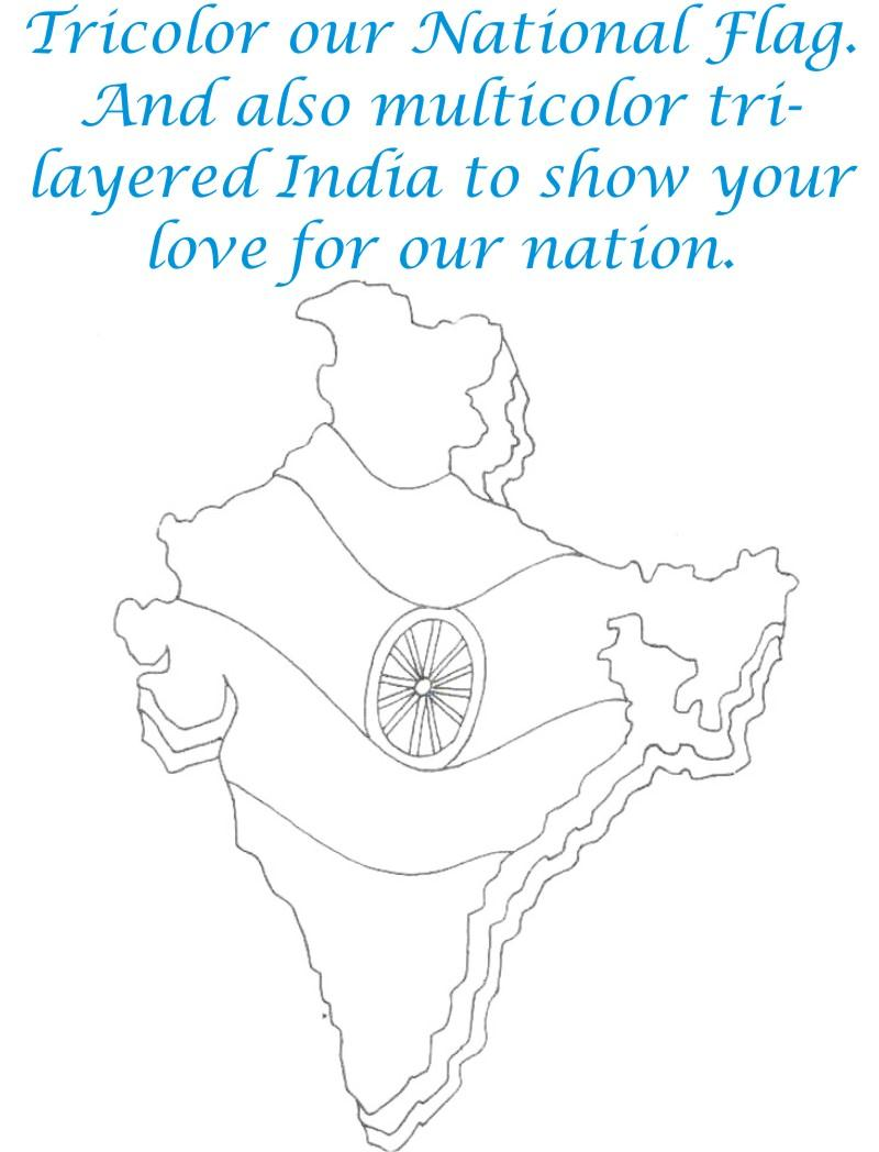 India Tri-layered printable coloring page for kids