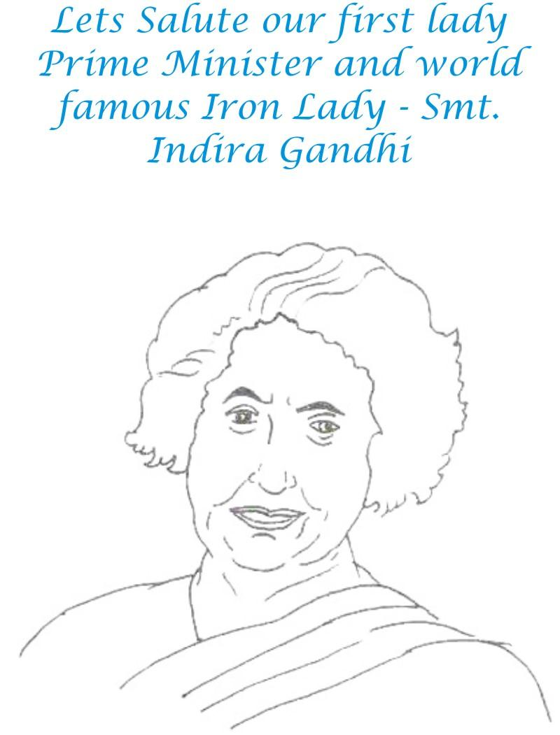 Indira Gandhi Coloring page for kids