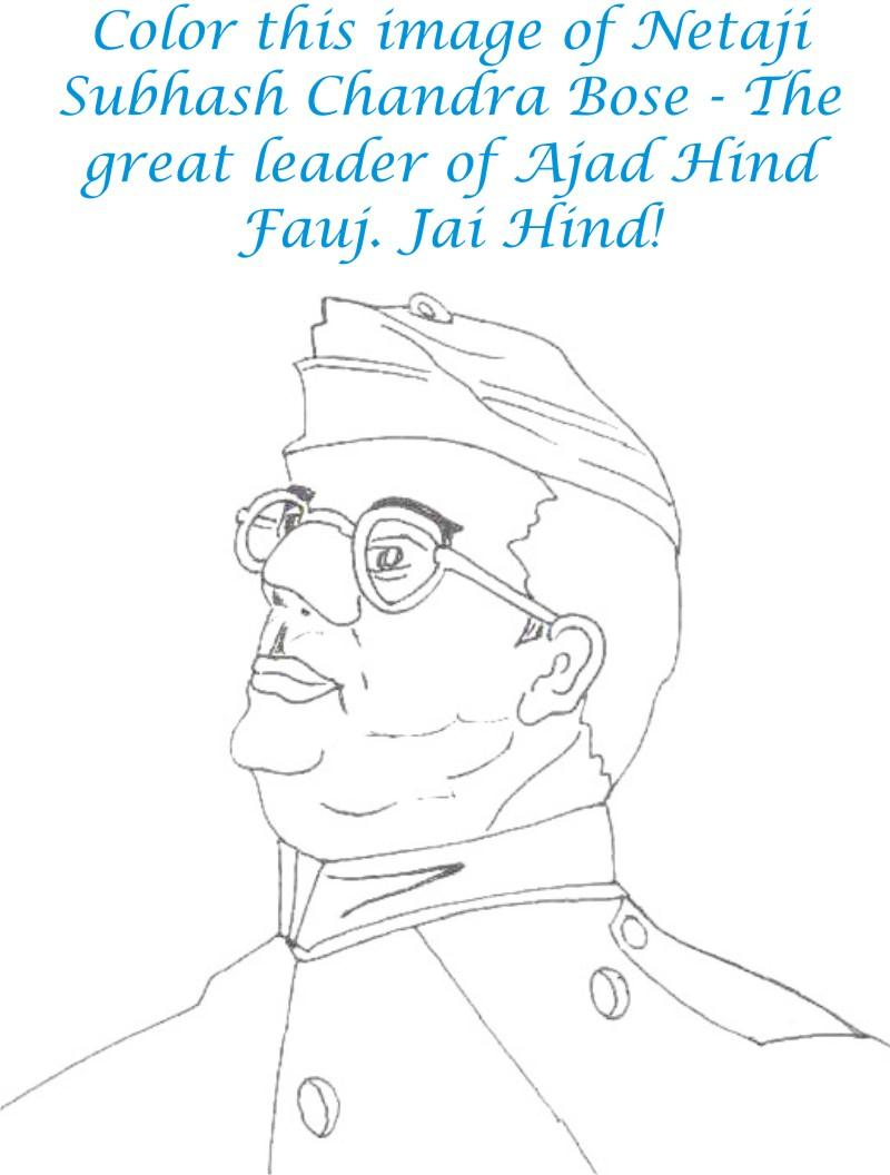 Subhash Chandra Bose Coloring page for kids