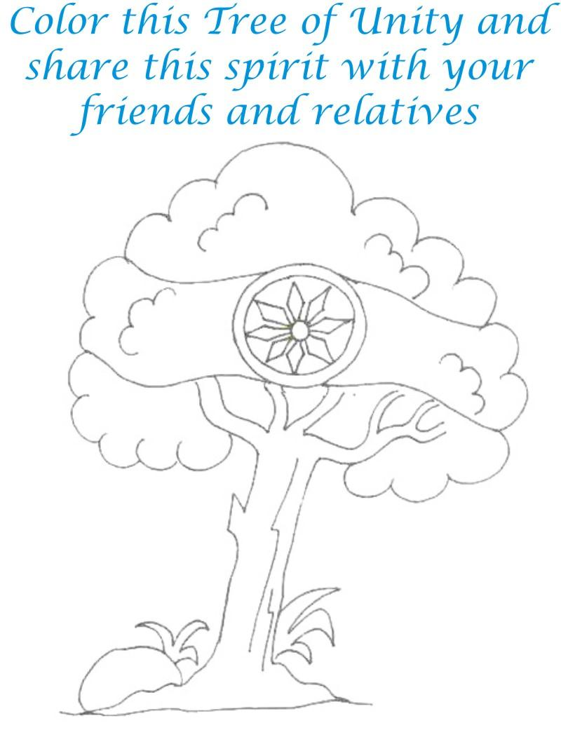 Tree of Unity coloring page for kids