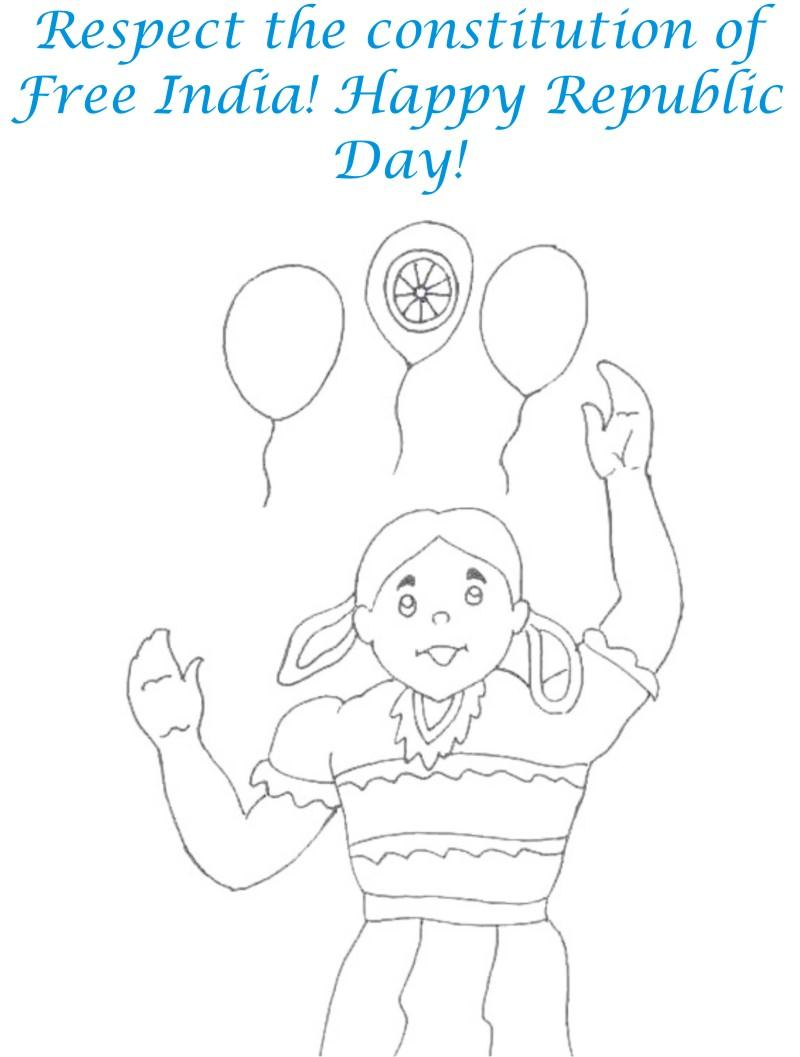 Girl with balloon coloring page for kids