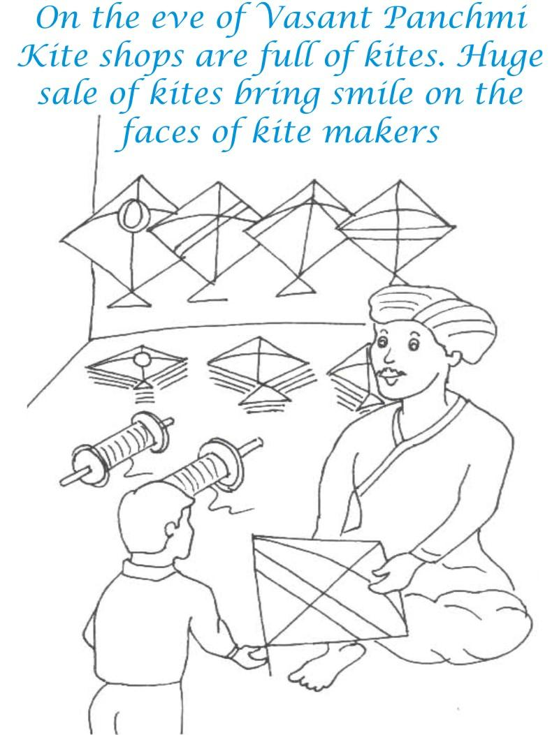 vasant panchmi kite shop coloring page for kids