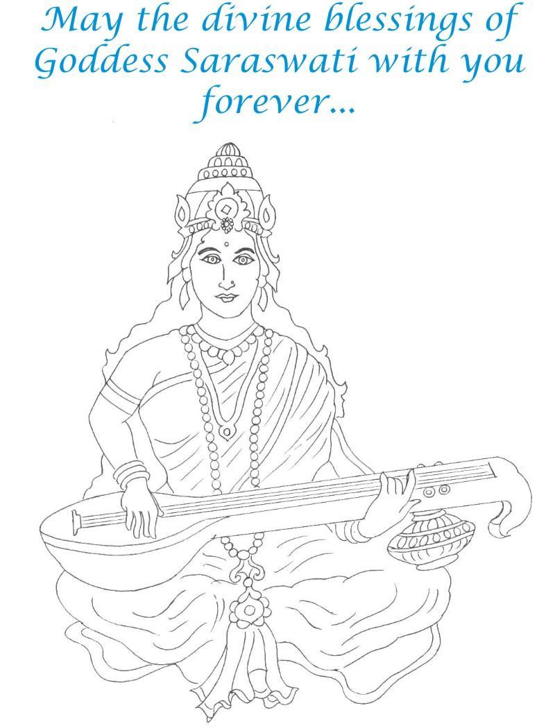 Goddess Saraswati coloring page for kids