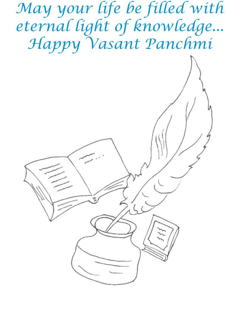 Vasant Panchmi Card coloring page for kids