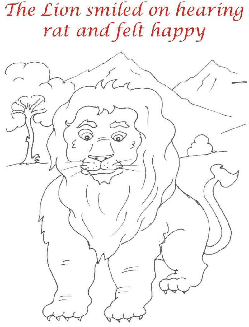 The happy lion coloring page for kids
