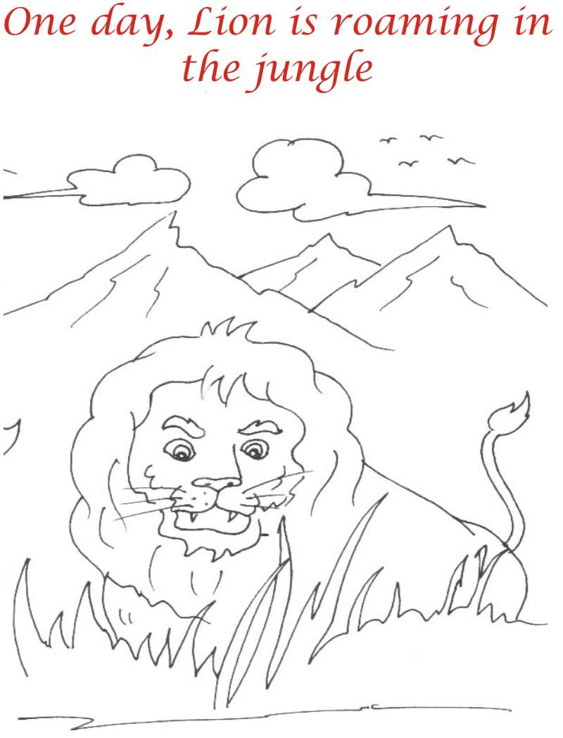Lion roaming in the jungle coloring page for kids