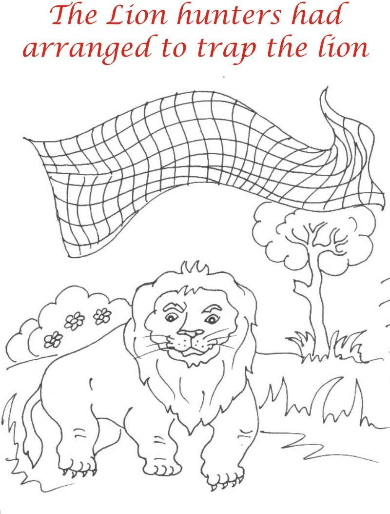 net over lion coloring page for kids