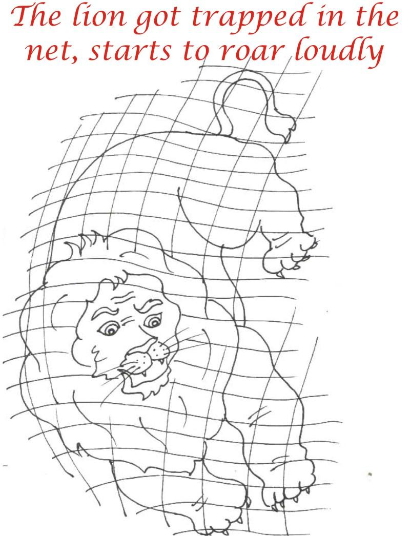 the trapped lion coloring page for kids