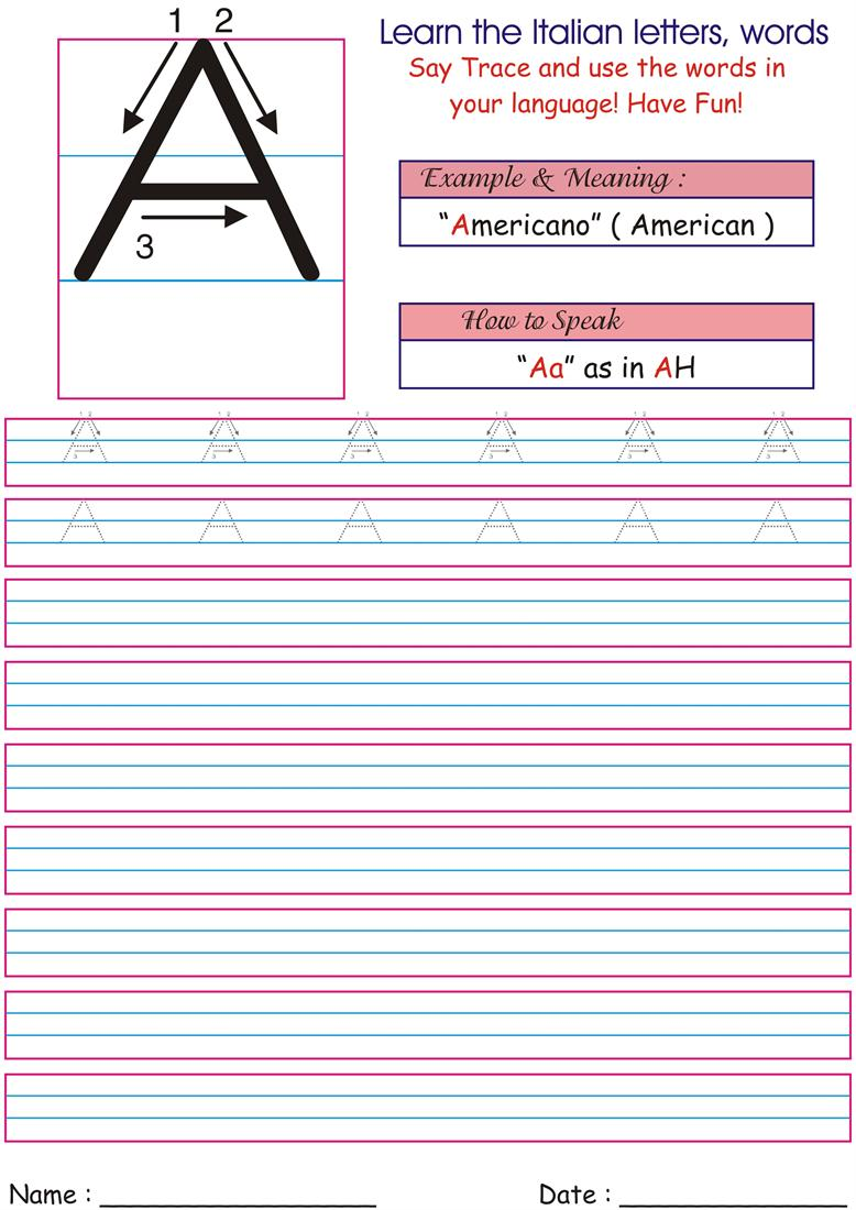 Worksheets Italian Worksheets italian letters worksheets for kids aa
