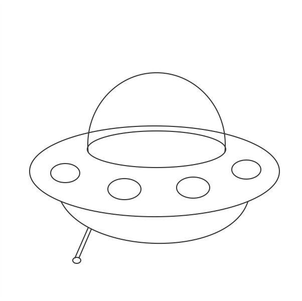 Step  Draw The Stand On One Side Below The Flying Saucer As Shown In Figure