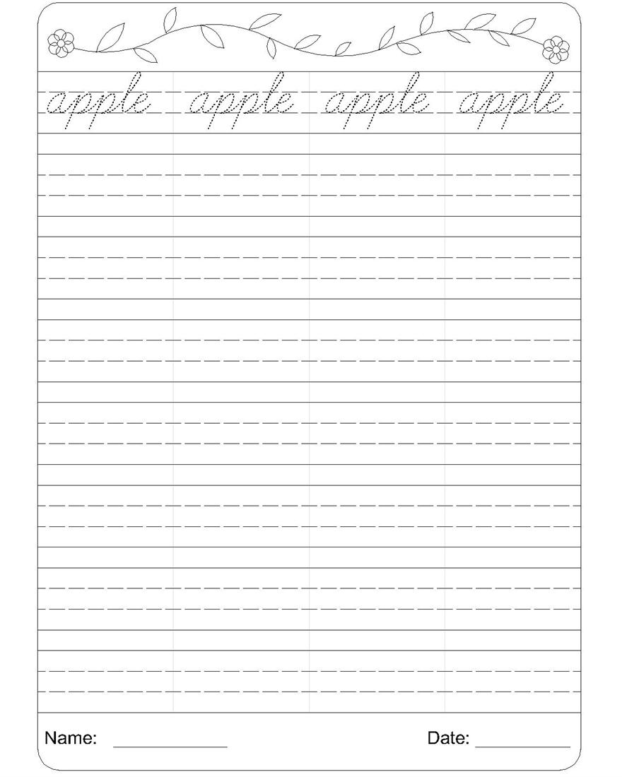 Cursive writing worksheet 1 – Writing Worksheets for Grade 1