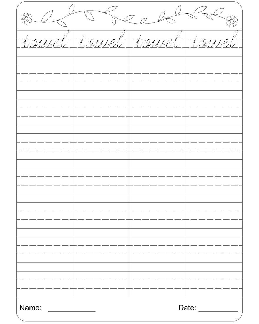 Cursive writing worksheet 20