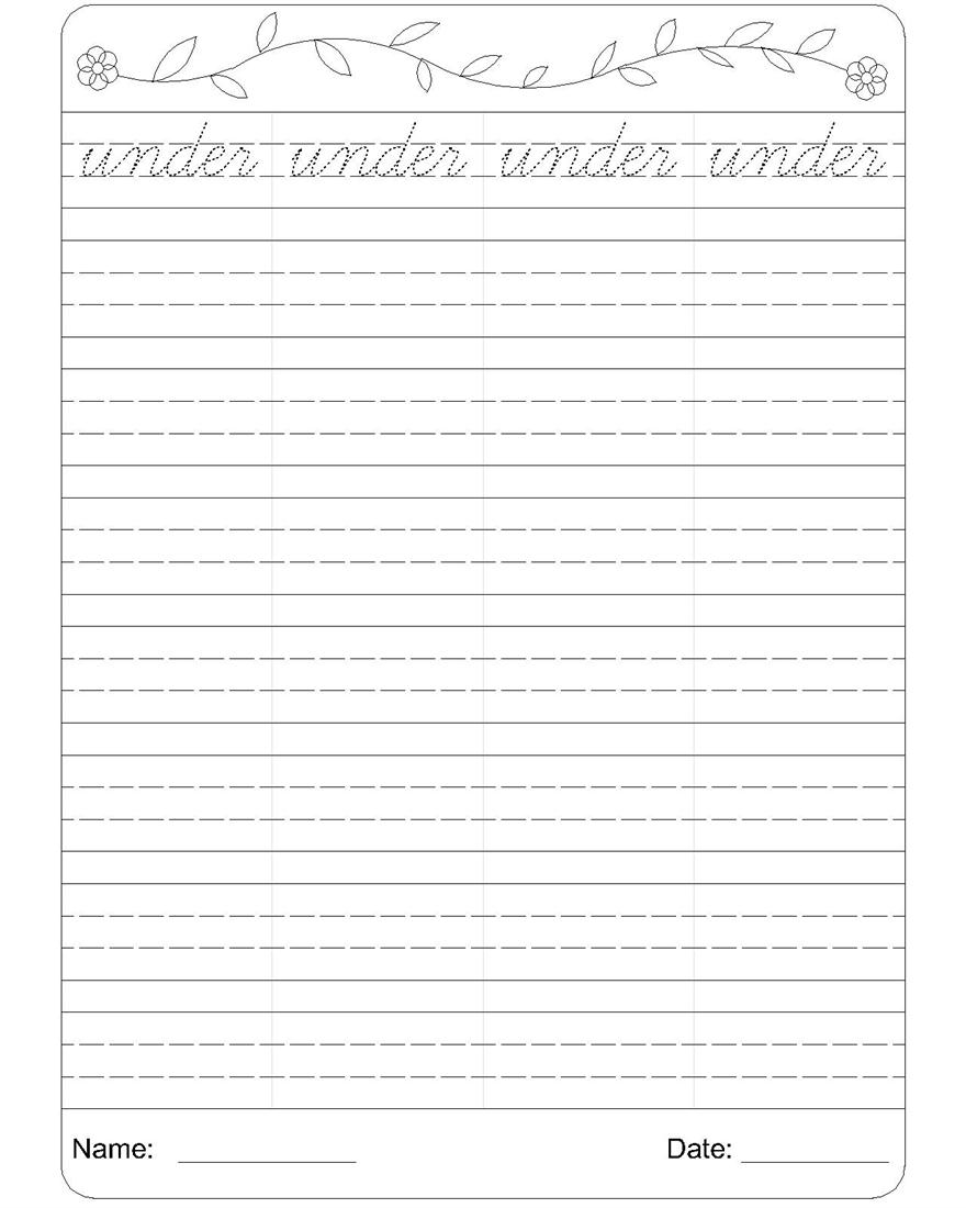 Cursive writing worksheet 21