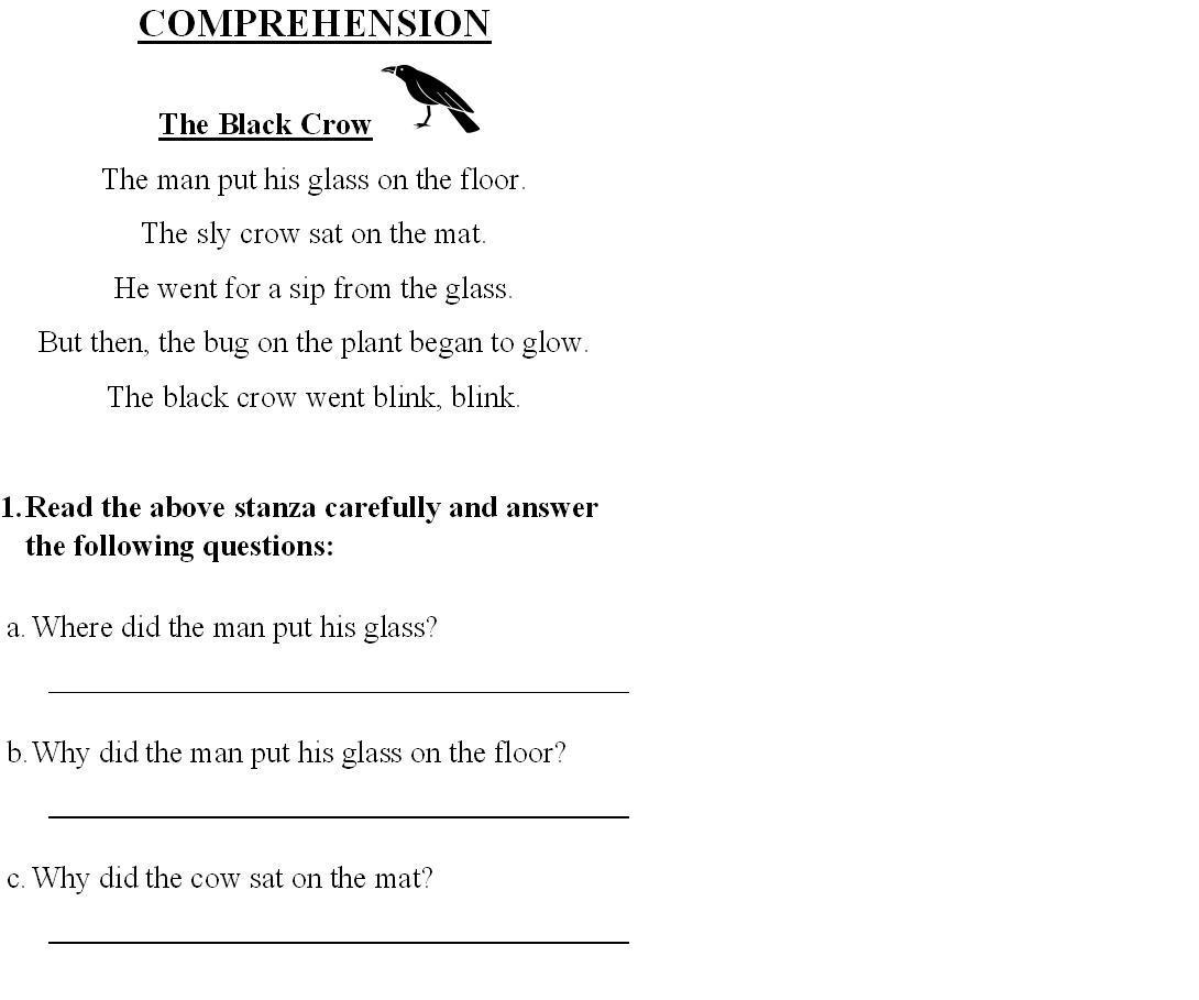 Worksheet English Comprehension Worksheets For Grade 1 english comprehension for class 1 memarchoapraga 1
