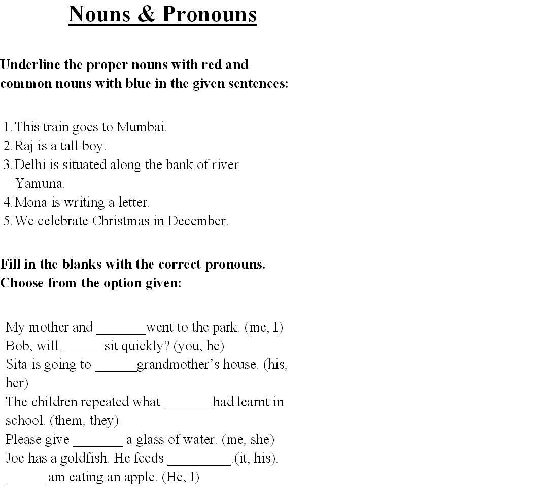 Nouns Pronouns 2 – Nouns and Pronouns Worksheet