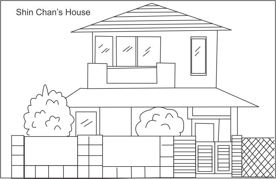 Shin chan\'s house coloring page for kids