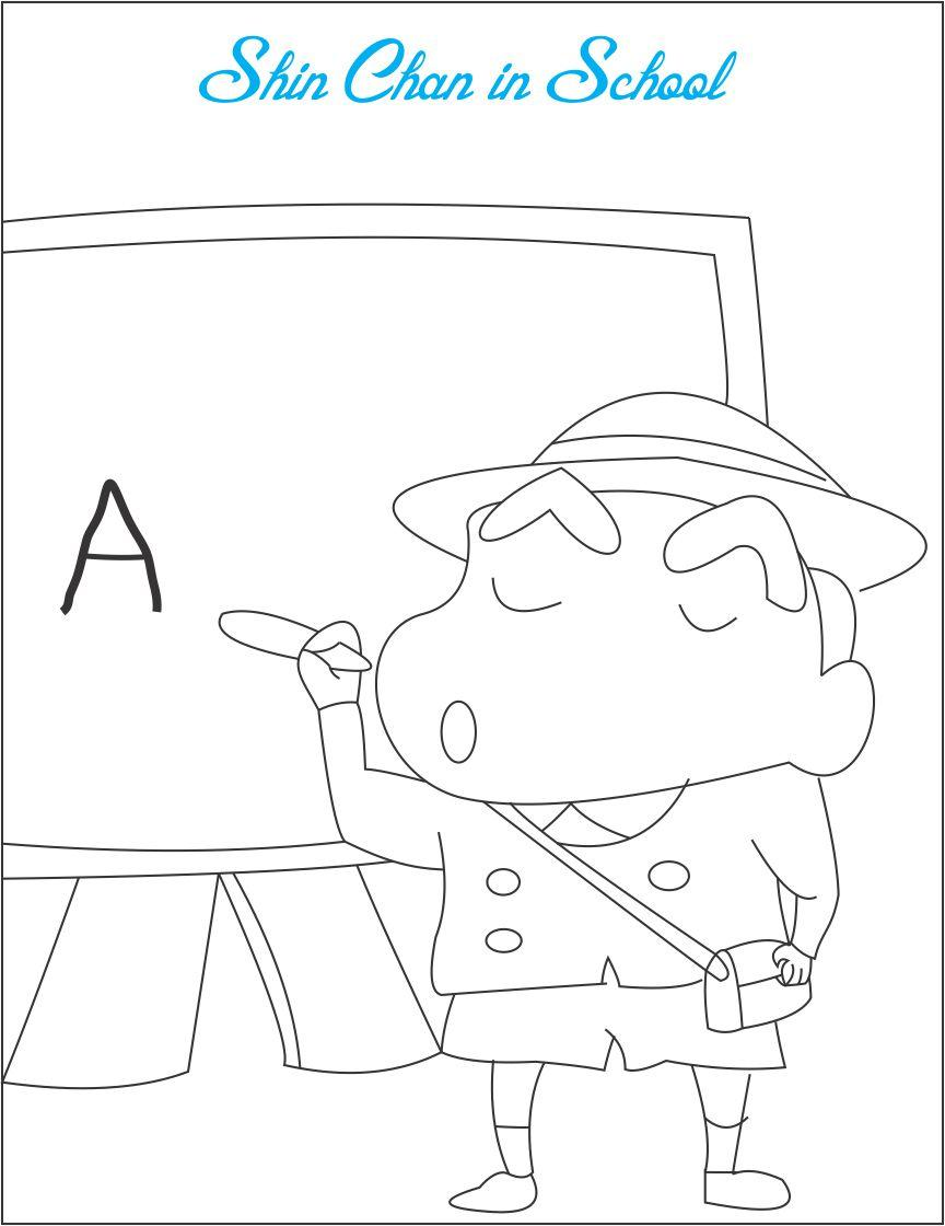 Shin chan in school coloring printable for kids for Shin chan coloring pages