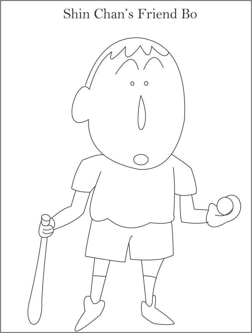shin chan coloring pages print - shin chan 39 s friend bo coloring page for kids