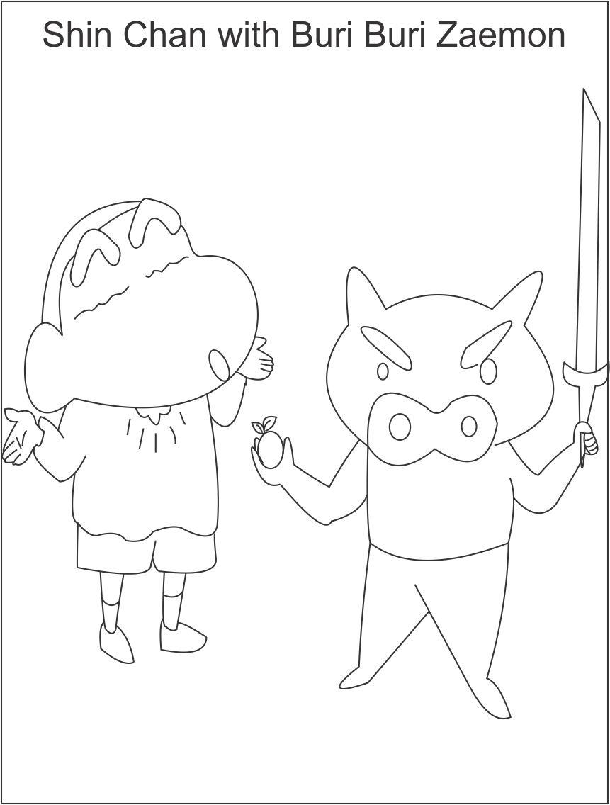 Shin chan with buri buri coloring page for kids for Shin chan coloring pages