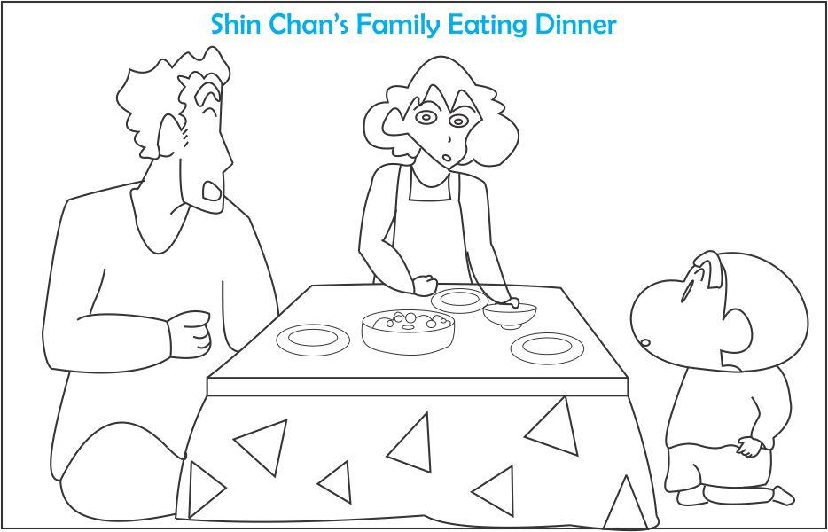 Shin chan\'s family coloring page for kids