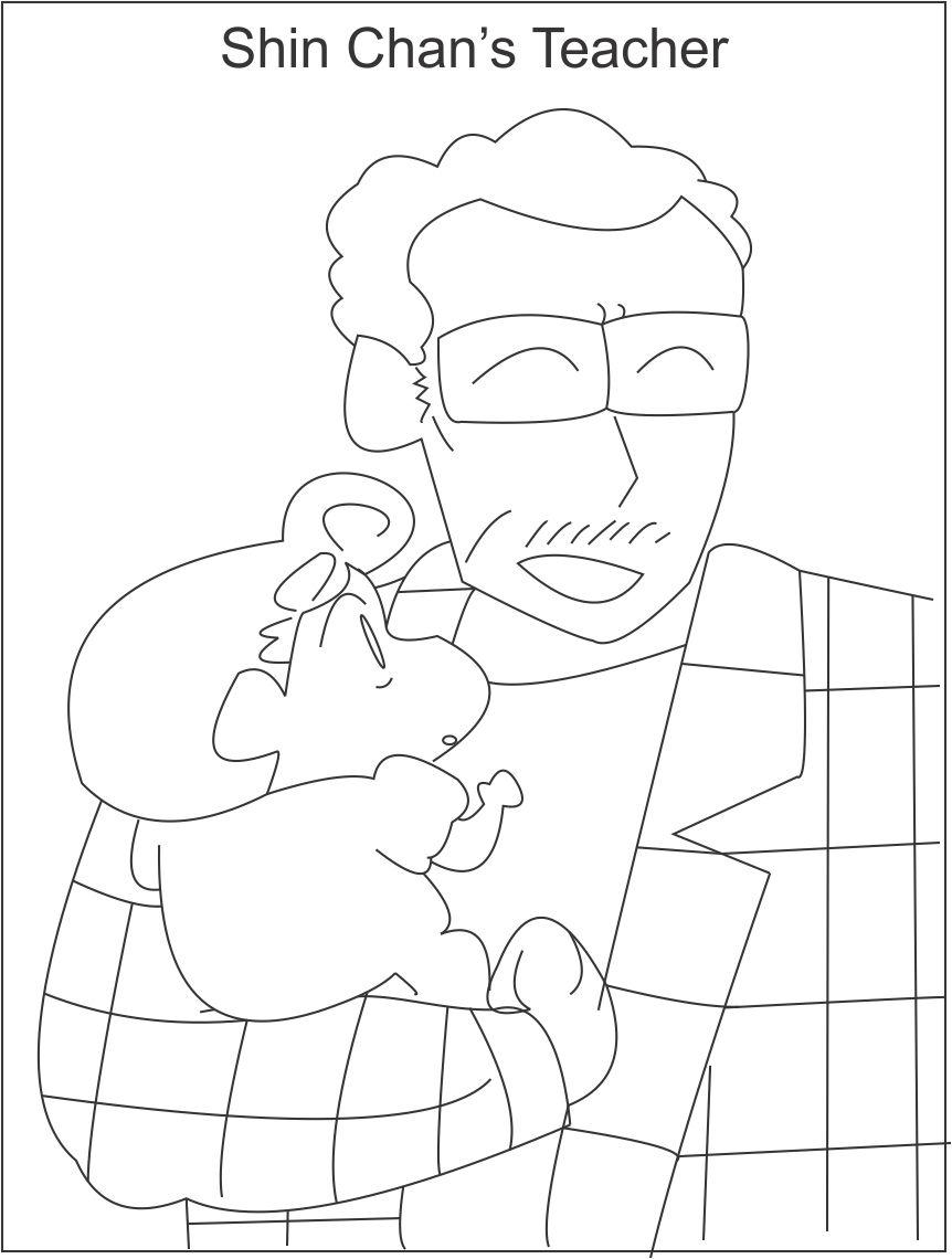 Shin Chan S Principal Coloring Page For Kids Shin Chan Coloring Pages