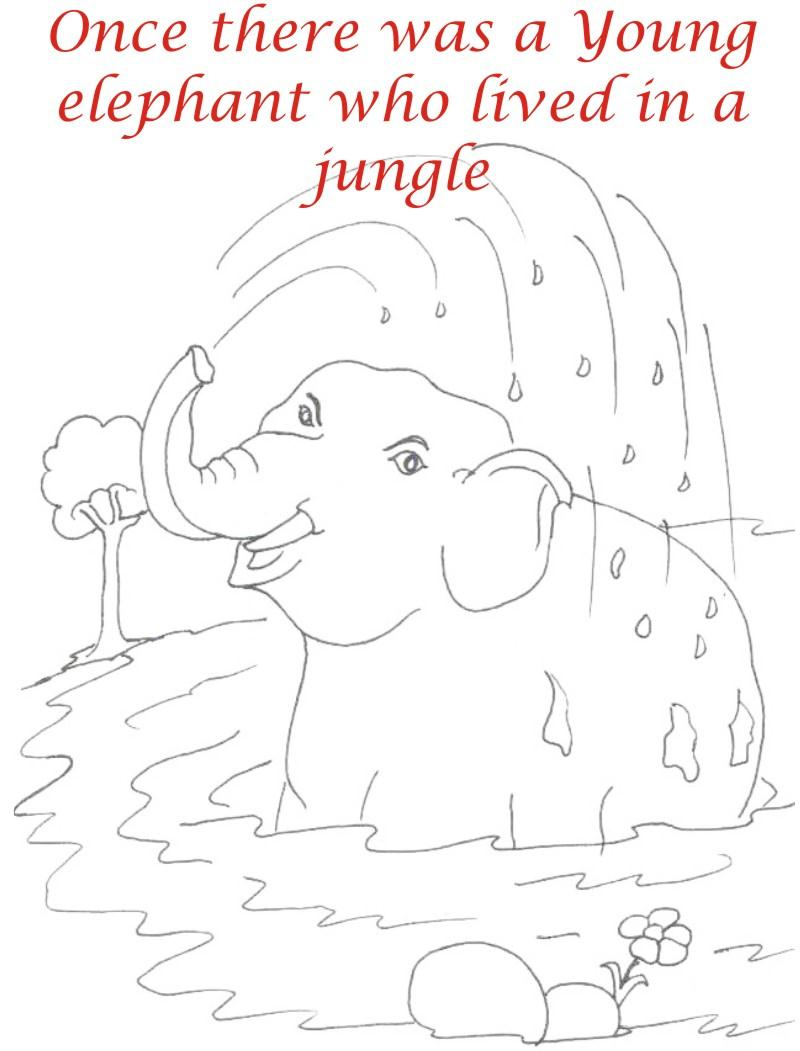 Young Elephant bathing coloring page