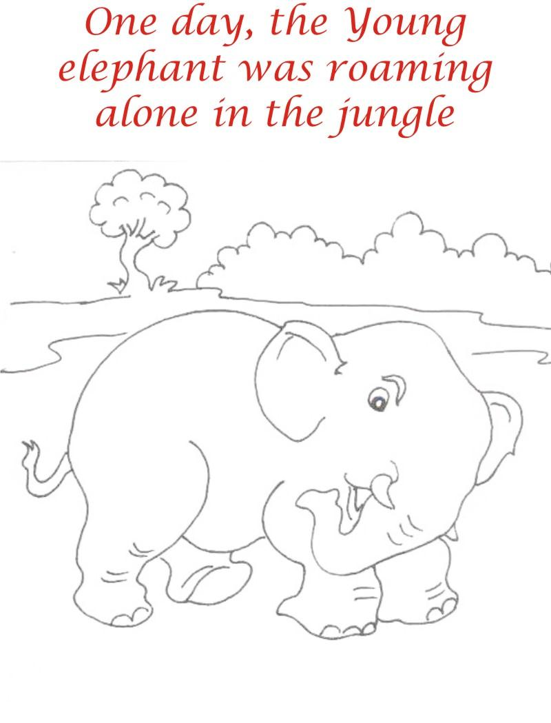 Elephant roaming in jungle coloring page for kids