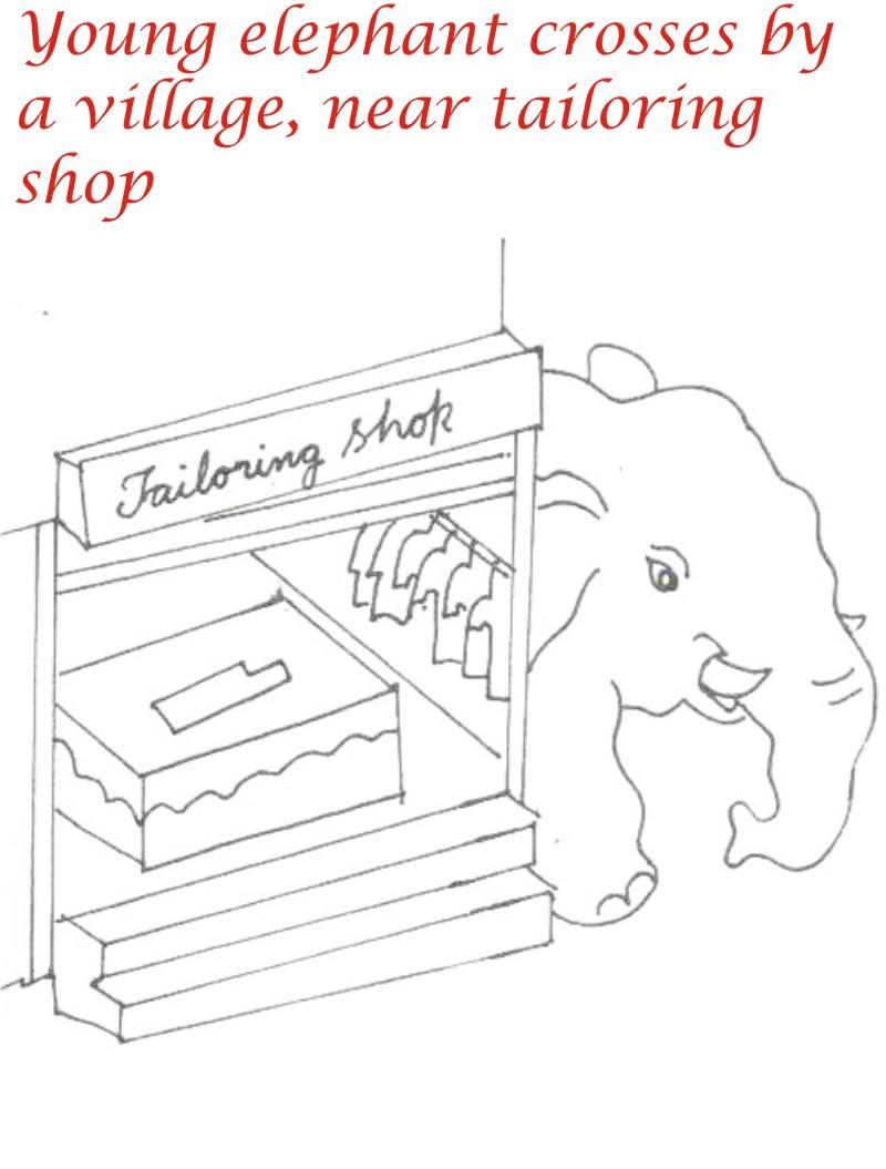 Elephant passing by village coloring page