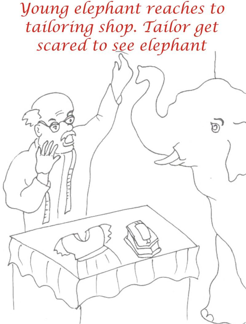 Elephant near shop coloring page for kids