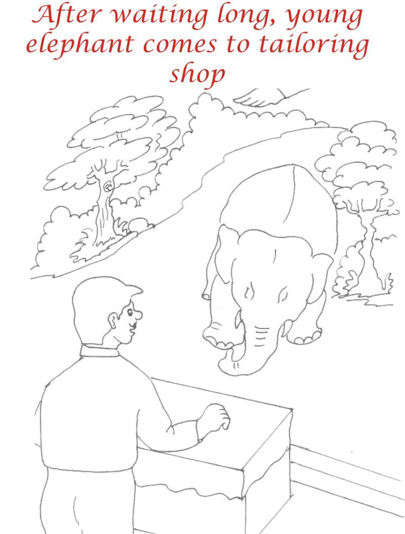 Young elephant to tailor shop coloring page