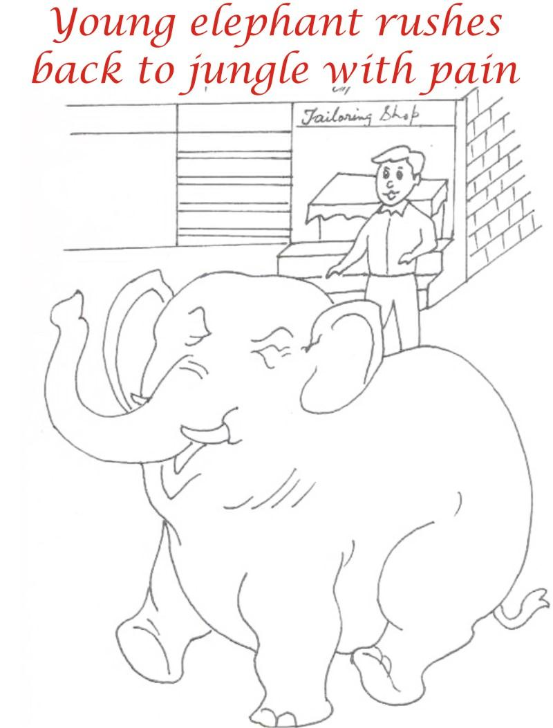 Elephant rushing coloring page printable for kids