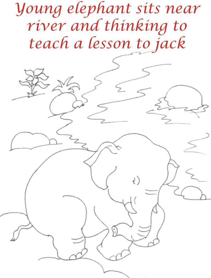 Young Elephant in thought coloring printable page
