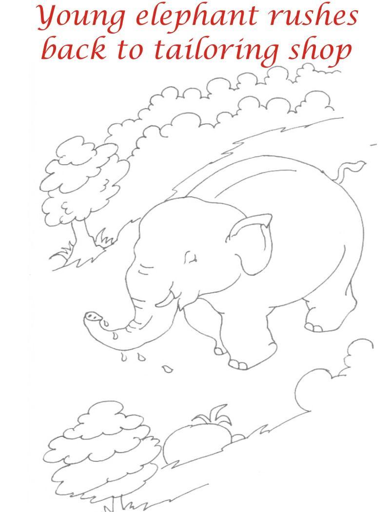 Elephant returns to shop coloring page
