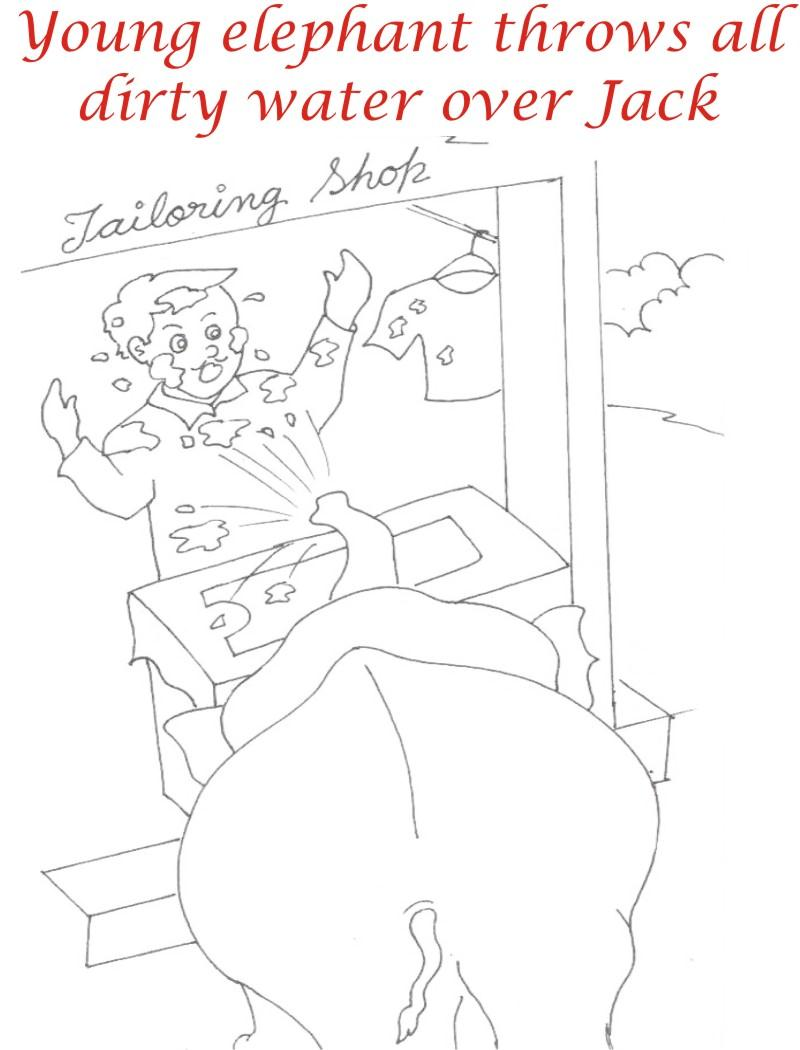 Elephant waters Jack coloring printable page
