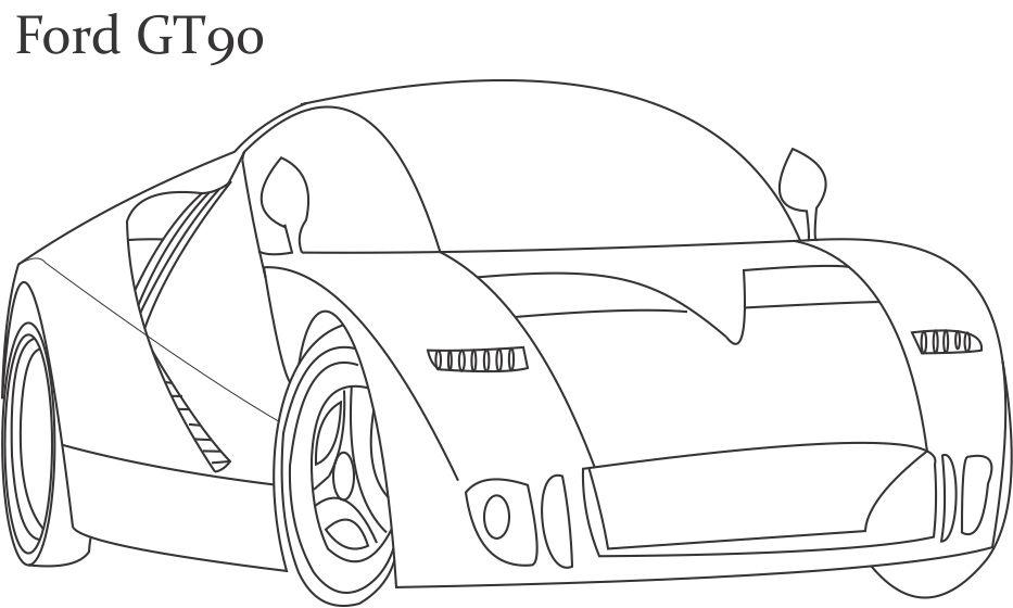 super car ford gt coloring page for kids