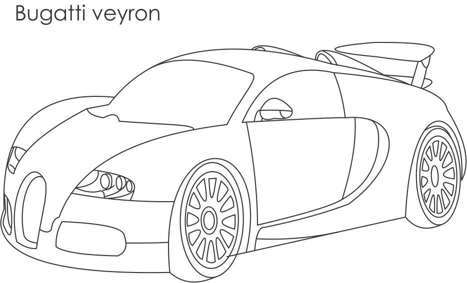 Super car Bugatti veyron coloring page for kids